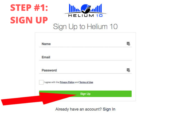 helium 10 sign up